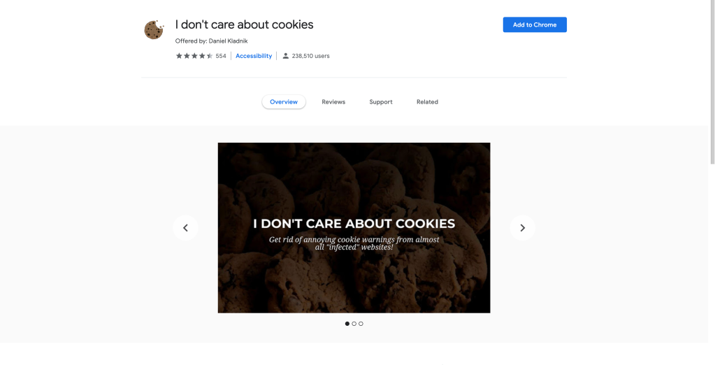 Screenshot of the I don't care about cookies extension page on the chrome web store.