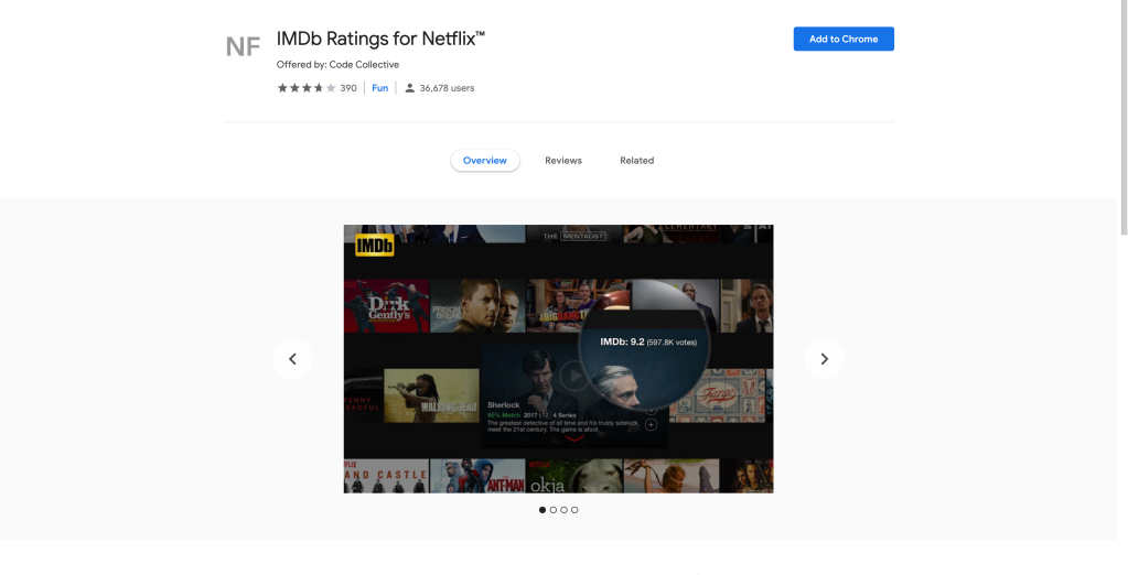 Screenshot of the IMDB Ratings for Netflix extension page on the chrome web store.