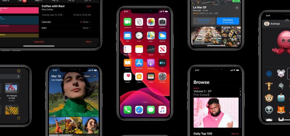 Screenshot from the Apple website displaying a collage of iPhones running iOS 13 and highlighting the new features.