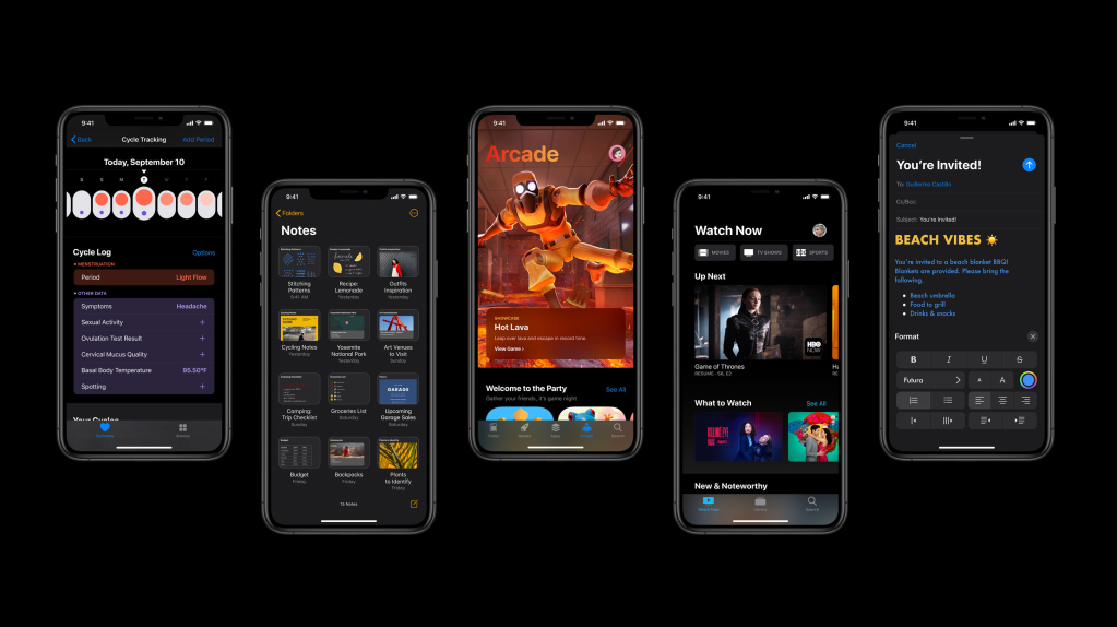 Screenshot from the Apple website displaying five iPhone's side by side highlighting some of the new features of iOS 13.