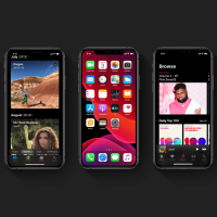 Image from the Apple website showing multiple iPhones displaying the features of iOS 13.