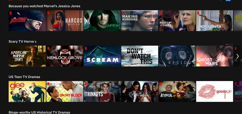Screenshot of the Netflix home screen displaying TV shows and movies.