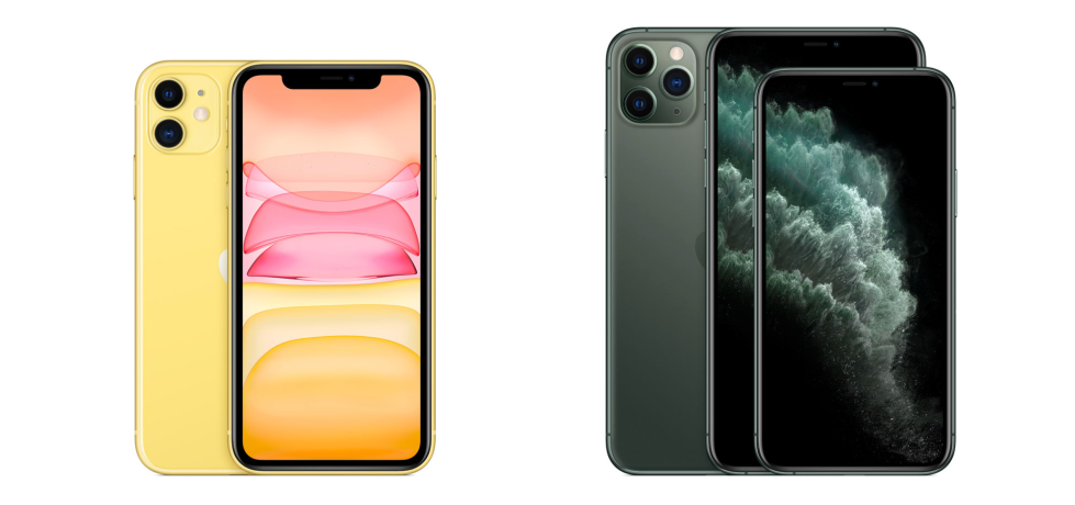 Image from the Apple website displaying the iPhone 11 and iPhone 11 Pro side by side.