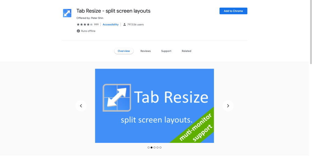 Screenshot of the Tab Resize extension page on the chrome web store.