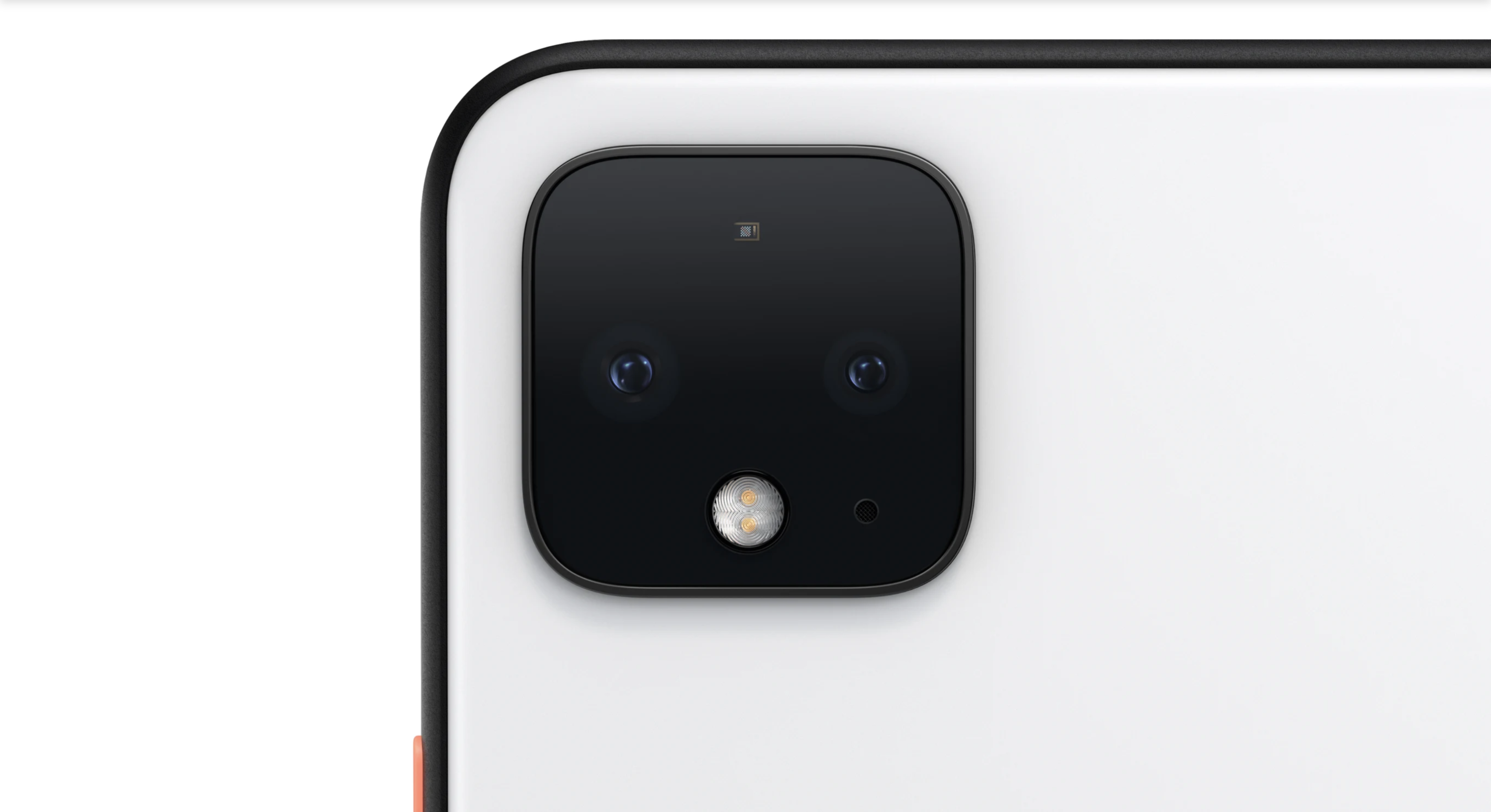 Image from Google showing the square camera module on the back of a white Pixel 4 phone.
