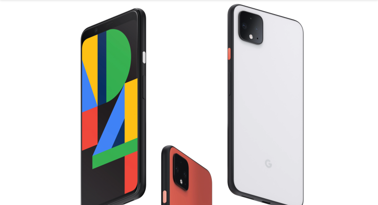 Image from Google showcasing three Pixel 4 phones in black, orange and white.